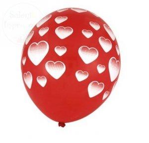 Balony czerwone w białe serca 1 szt