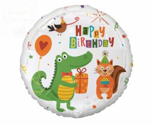 Balon foliowy 18 cali Krokodylek Happy Birthday