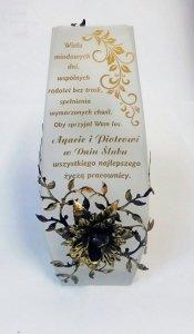 Wazon  z metalową różą i  grawerem prezent na urodziny, rocznicę ślubu, jubileusz