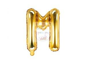Balon foliowy Litera M 35 cm złoty