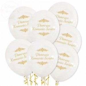Balony białe ze złotym nadrukiem Pierwsza Komunia