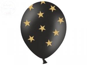 Balony 14cali Pastel czarne w gwiazdki 1 szt
