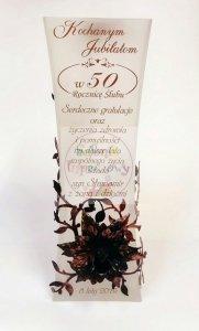 Wazon z różą RÓŻWE ZŁOTO oraz grawerem prezent na Rocznicę ślubu 25