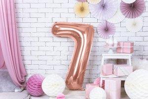 Balon foliowy cyfra 7 różowe złoto - 86 cm