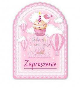 Zaproszenie na roczek różowa babeczka 1 szt