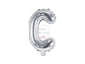 Balon foliowy Litera C 35 cm srebrny