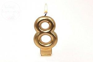 Świeczka urodzinowa cyferka złota 8