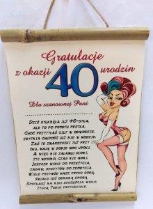 Dyplom Bambus Z okazji 40 urodzin Szanownej Pani
