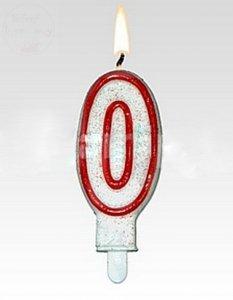 Świeczka urodzinowa cyferka 0 czerwona brokat
