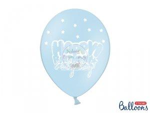 Balony pastelowe błękitne HAPPY BIRTHDAY BABY BOY