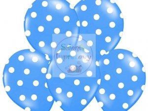 Balony 14cali pastel niebieskie w białe kropki