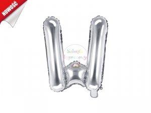 Balon foliowy Litera W 35 cm srebrny