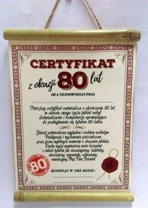 Dyplom bambus Certyfikat z Okazji 80 lat dla Pana