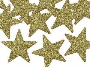 Dekoracje brokatowe złota gwiazdka 8szt
