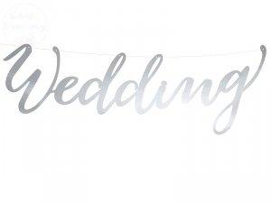 Baner Weedding srebrny 16,5x45cm  - 1szt