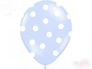 Balony błękitne w białe kropki 14 cali