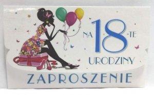 Zaproszenie urodzinowena 18 Urodziny 1szt