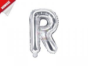 Balon foliowy Litera R 35 cm srebrny
