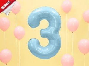 Balon foliowy cyfra 3 błękitna - 86 cm