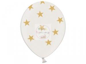Balony 14cali metalik białe w gwiazdki 1 szt