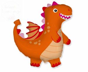 Balon foliowy pomarańczowy dinosaur 24 cal