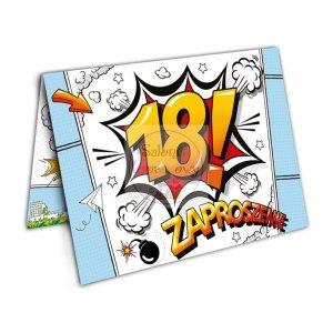 Zaproszenie Cartoon na 18 urodziny 1szt
