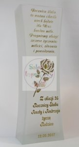 Wazon grawerowany ze złotym grawerem prezent na rocznicę ślubu