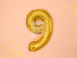 Balon foliowy Cyfra 9 35 cm złoty