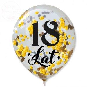 Balony przeźroczyste z konteffi złotym 18 Lat