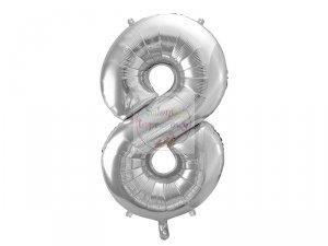 Balon foliowy  86 cm srebrny cyfra 8