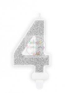 Świeczka urodzinowa cyferka 4 srebrna z brokatem