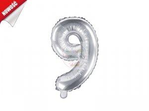 Balon foliowy Cyfra 9 35 cm srebrny