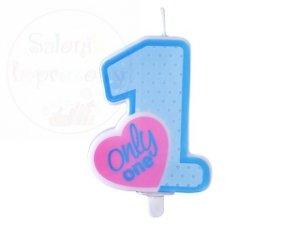 Świeczka urodzinowa cyferka Only One błękitna 1szt