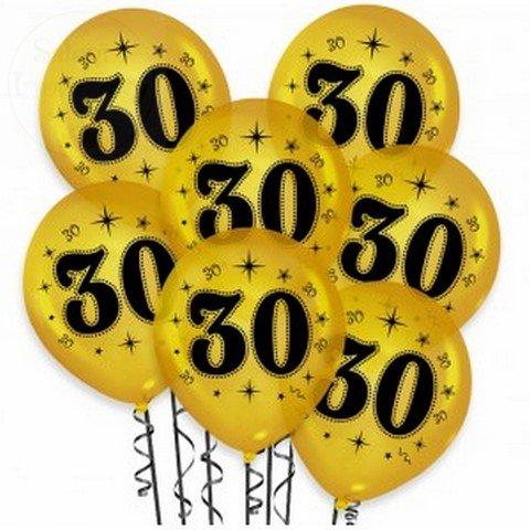 """Balony złote z czarnym nadrukiem """"30"""" - 1szt"""