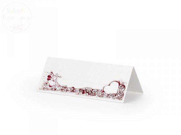Wizytówki, winietki ślubne z różowym sercem WS13