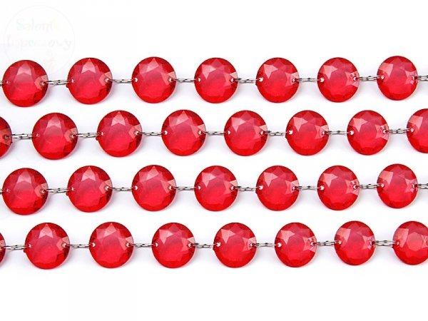 Girlanda kryształowa czerwona długość 1m