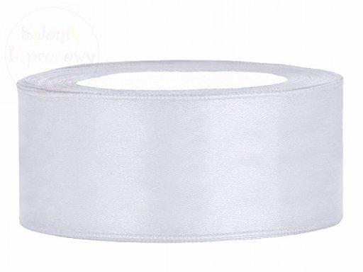 Tasiemka satynowa biała 25mm/25m