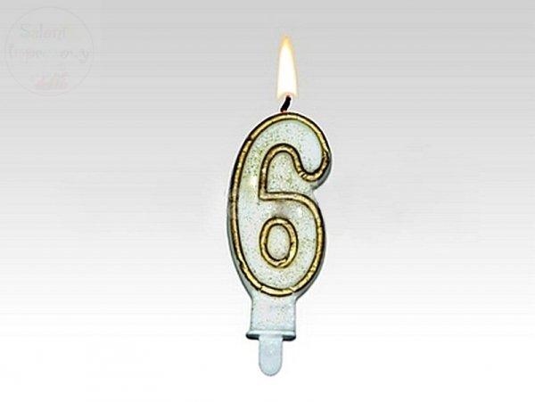 Świeczka urodzinowa cyferka 6 złota + brokat