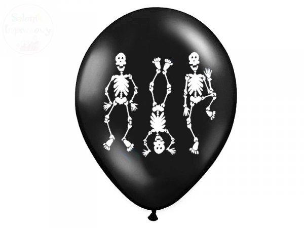 Balony 14 cali czarne z nadrukiem Kościotrupy