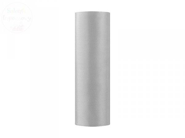 Satna gładka w kolorze srebrnym 0,16x9m