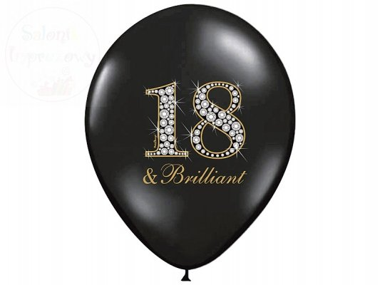 "Balony 14 cali pastel czarne ""18 & brilliant"" -1sz"