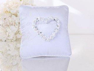 Poduszka pod obrączki z kieszonką i białymi różyc