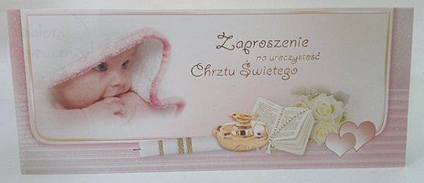 Zaproszenie na chrzest św. różowe 1szt