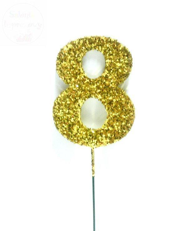 Ozdoba na druciku 8  złote - 1szt