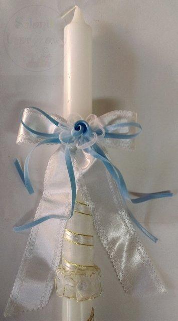Kokarda atłasowa do świecy z niebieskimi dodatkami