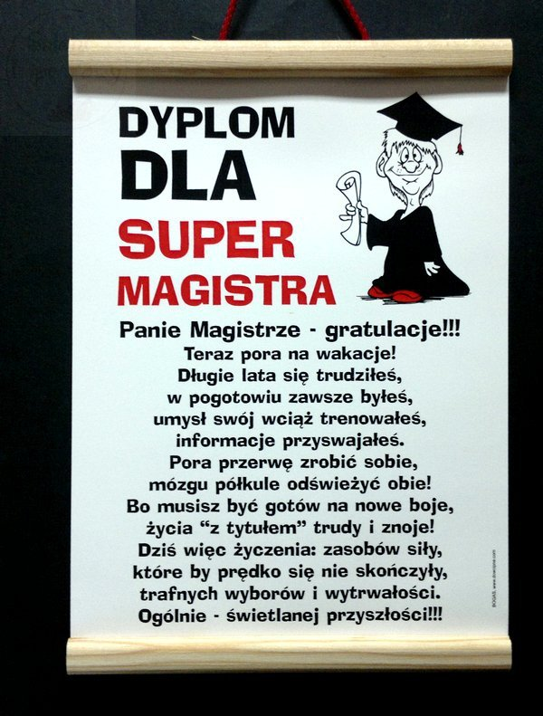 """Dyplom pamiątkowy dla  """" Super Magistra """" - pan"""