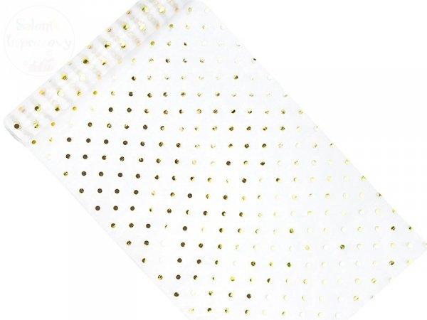 Organza 0,36x9m biała ze złotym nadrukem