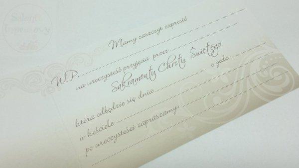 """Zaproszenie n chrzest beżowe """"Stópki"""" 1szt"""