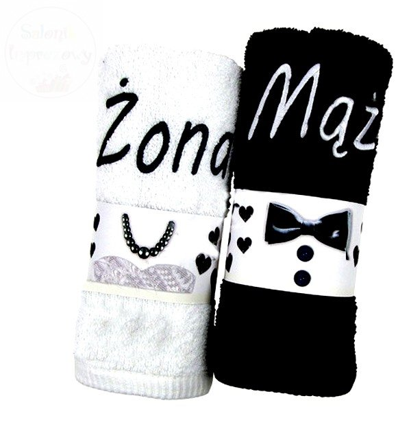 Ręczniki z haftem zestaw Żona Mąż 100x50cm