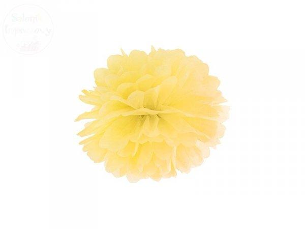 Pompon bibułowy żółty 25cm 1szt